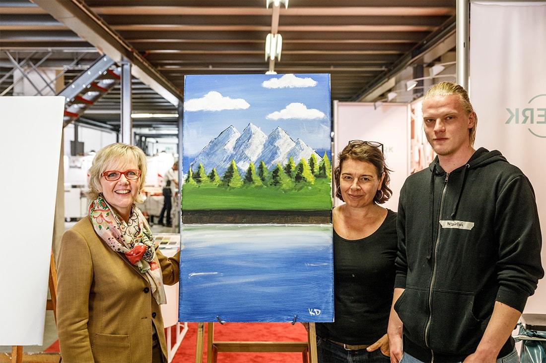 Margarete Sonnen, Künstlerin Hilli Hassemer und der Speed Painiting Gewinner Krzystof Donajski
